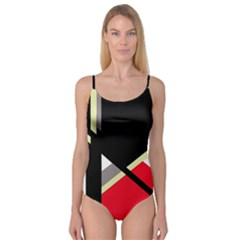 Red and black abstraction Camisole Leotard