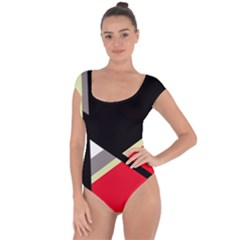 Red and black abstraction Short Sleeve Leotard