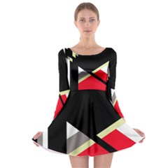 Red and black abstraction Long Sleeve Skater Dress