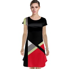 Red and black abstraction Cap Sleeve Nightdress