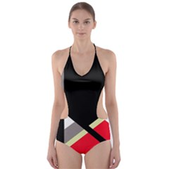 Red and black abstraction Cut-Out One Piece Swimsuit