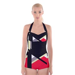 Red and black abstraction Boyleg Halter Swimsuit