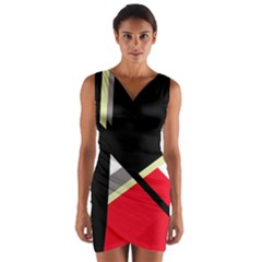 Red and black abstraction Wrap Front Bodycon Dress