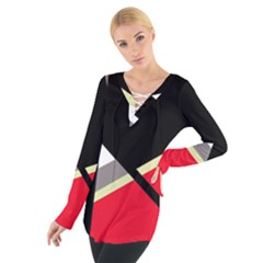 Red and black abstraction Women s Tie Up Tee