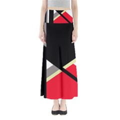 Red and black abstraction Maxi Skirts