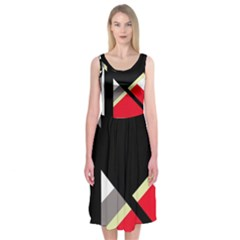 Red And Black Abstraction Midi Sleeveless Dress