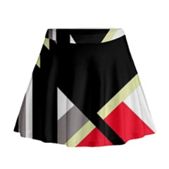 Red and black abstraction Mini Flare Skirt