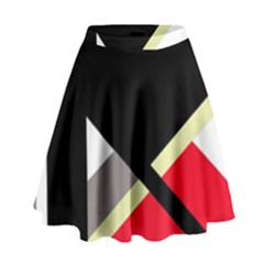 Red and black abstraction High Waist Skirt