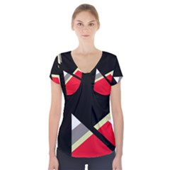 Red And Black Abstraction Short Sleeve Front Detail Top