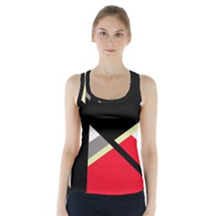 Red And Black Abstraction Racer Back Sports Top