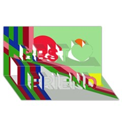 Decorative abstraction Best Friends 3D Greeting Card (8x4)