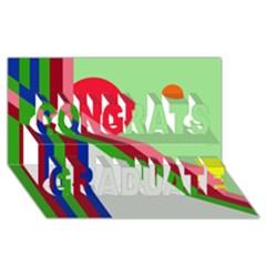 Decorative abstraction Congrats Graduate 3D Greeting Card (8x4)