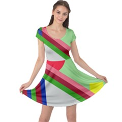 Decorative abstraction Cap Sleeve Dresses