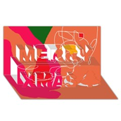 Orange abstraction Merry Xmas 3D Greeting Card (8x4)
