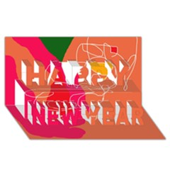 Orange abstraction Happy New Year 3D Greeting Card (8x4)