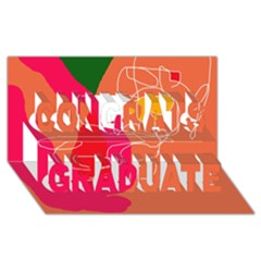 Orange abstraction Congrats Graduate 3D Greeting Card (8x4)