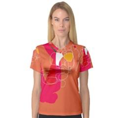 Orange abstraction Women s V-Neck Sport Mesh Tee