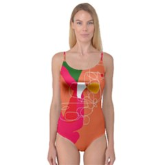Orange abstraction Camisole Leotard