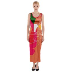 Orange abstraction Fitted Maxi Dress