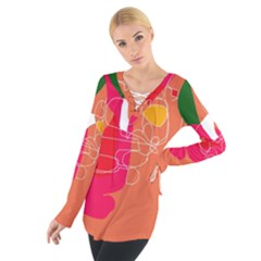 Orange Abstraction Women s Tie Up Tee