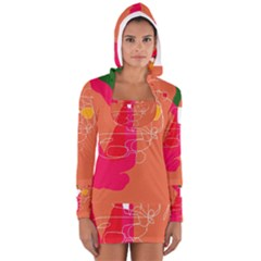 Orange Abstraction Women s Long Sleeve Hooded T Shirt