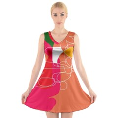 Orange abstraction V-Neck Sleeveless Skater Dress