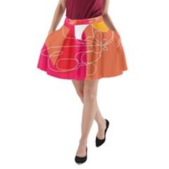 Orange Abstraction A Line Pocket Skirt