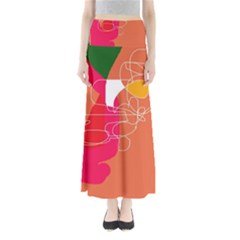 Orange abstraction Maxi Skirts