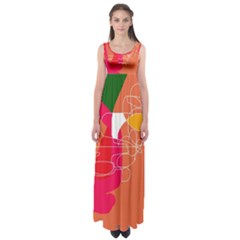 Orange abstraction Empire Waist Maxi Dress