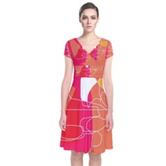 Orange abstraction Short Sleeve Front Wrap Dress