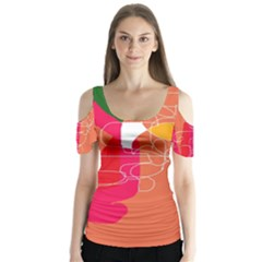 Orange abstraction Butterfly Sleeve Cutout Tee