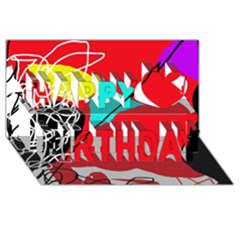 Colorful abstraction Happy Birthday 3D Greeting Card (8x4)