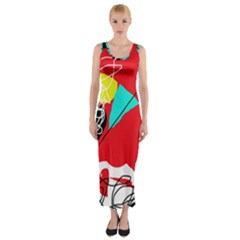 Colorful abstraction Fitted Maxi Dress