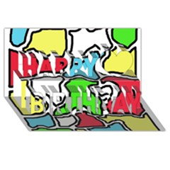 Colorful abtraction Happy Birthday 3D Greeting Card (8x4)