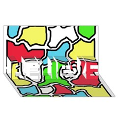 Colorful abtraction BELIEVE 3D Greeting Card (8x4)