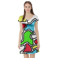 Colorful abtraction Short Sleeve Skater Dress