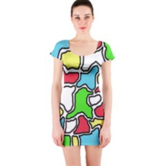 Colorful abtraction Short Sleeve Bodycon Dress