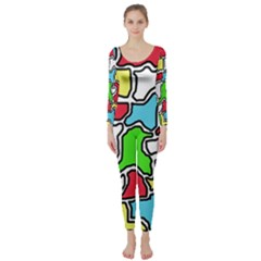 Colorful abtraction Long Sleeve Catsuit