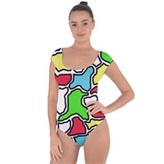 Colorful abtraction Short Sleeve Leotard