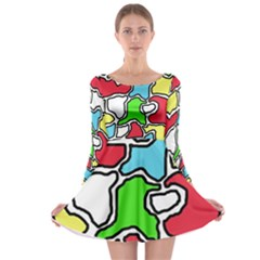 Colorful abtraction Long Sleeve Skater Dress