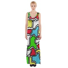 Colorful abtraction Maxi Thigh Split Dress