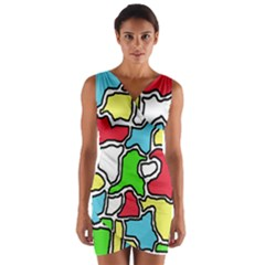 Colorful abtraction Wrap Front Bodycon Dress