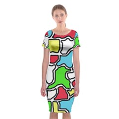 Colorful abtraction Classic Short Sleeve Midi Dress