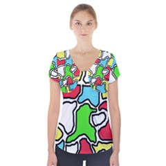 Colorful abtraction Short Sleeve Front Detail Top