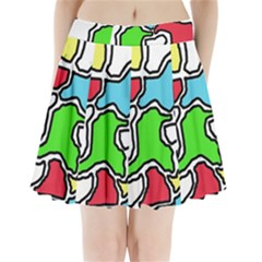 Colorful abtraction Pleated Mini Mesh Skirt
