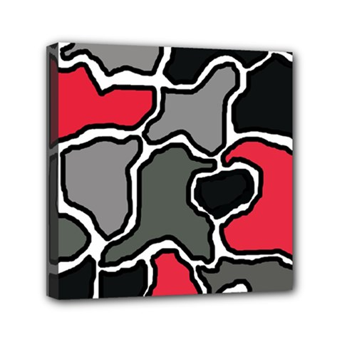 Black, gray and red abstraction Mini Canvas 6  x 6
