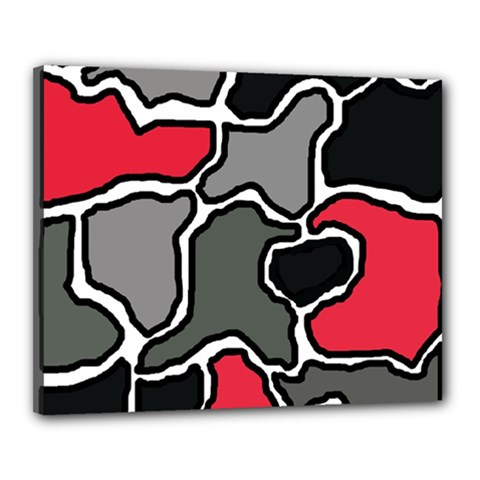 Black, gray and red abstraction Canvas 20  x 16