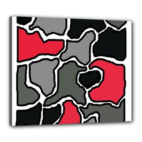 Black, gray and red abstraction Canvas 24  x 20