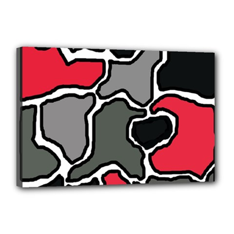 Black, gray and red abstraction Canvas 18  x 12