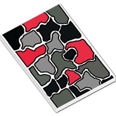 Black, gray and red abstraction Large Memo Pads